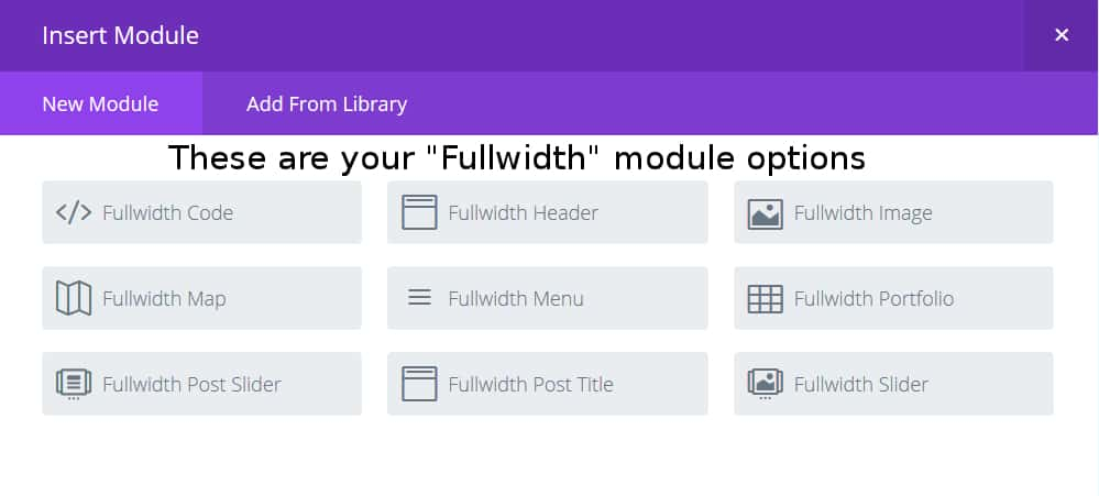 Fullwidth Modules Available for the Fullwidth Section
